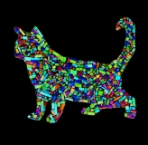 Ghost Cat: Invert Paper Mosaic, Susan Gainen