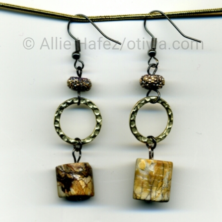 Not so Red. Red Creek jasper, pave crystal, pewter, fishhook style earwire