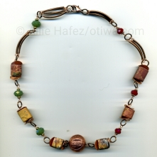Bend in the River. Red creek jasper, crystal, copper, lobster clasp.