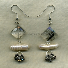 Tormalinated quarts, pearls, silver, metallic glass. Sterling fish-hook earwire.