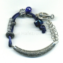 In the Key of Blues. fiber, crystals, pewter toggle clasp. Can be shortened or lengthened by request.