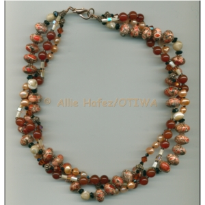 Allie Hafez Magnesite, mother of pearl, freshwater pearls, carnelian, Swarovski crystals, black onyx, copper