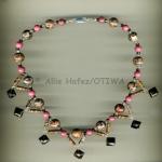 Allie Hafez Leopardskin jasper, rhodonite, smoky quartz, seed beeds
