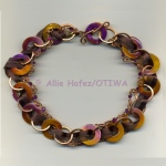 Allie Hafez Mother of pearl, rhinestones, fiber, copper chain