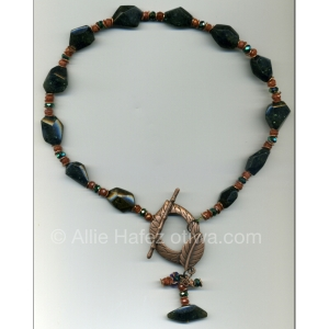 Allie Hafez Green Spectrolite, goldstone, crystals, copper