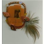 Allie Hafez Glass, wood, fiber, paper, paint, sequins, pheasant feather