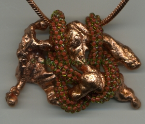 Allie Hafez Copper wrapped with beaded rope